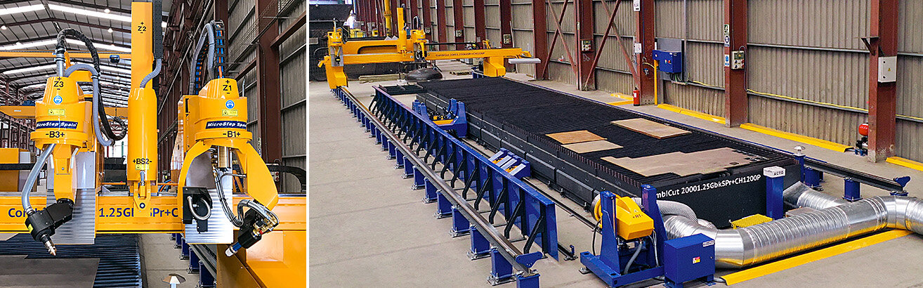 Combined plasma cutting system for enormous efficiency and flexibility